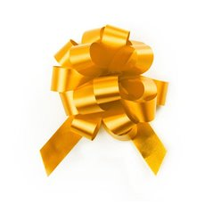 Ribbon Pull Bow Pom Pom Yellow 5PK (18mmx8.75cmD)