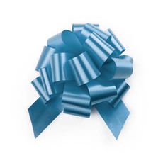 Pull Bows - Ribbon Pull Bow Pom Pom Baby Blue (12.5cmx32mm) Pack 5