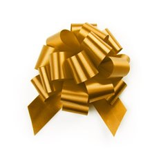 Ribbon Pull Bow Pom Pom 5 Pack Gold (12.5cmx32mm)