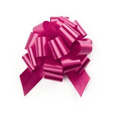 Ribbon Pull Bow Pom Pom 5 Pack Hot Pink (12.5cmx32mm)