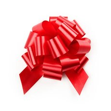 Pull Bows - Ribbon Pull Bow Pom Pom Red (12.5cmx32mm) Pack 5