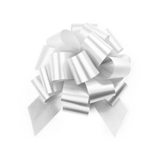 Pull Bows - Ribbon Pull Bow Pom Pom White (12.5cmx32mm) Pack 5
