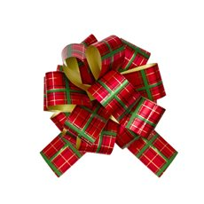 Christmas Ribbon & Bows - Ribbon Pull Bow Pom Pom Tartan Red Green (30mmx12.5cm)Pk5
