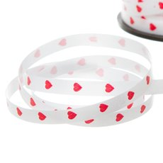 Ribbon Tear Valentines Red Hearts 5mmx100m White