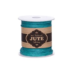 Jute String & Rope - Natural Jute String 4ply 100g Aqua Blue