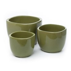 Large Flower Pots & Planters - Ceramic Monaco Square Round Set 3 Avocado (19x15cmH)