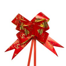 Christmas Ribbon & Bows - Ribbon Pull Bow Tree Red (32mmx53cm) Pack 25