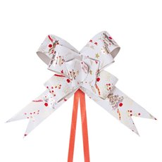 Christmas Ribbon & Bows - Ribbon Pull Bow Tree White (32mmx53cm) Pack 25