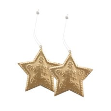 Metal Hanging Star 2 Pack Gold (8.8x8cmH)