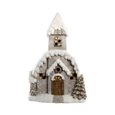 Christmas House Music Box with LED Beige (35.7x51.8cmH)