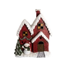 Christmas House Music Box with LED Red (38x46cmH)