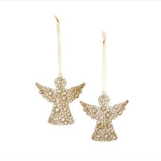 Hanging Angel Decoration 2 Pack Gold (9.5cmH)