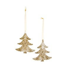 Hanging Tree Decoration 2 Pack Gold (9.5cmH)