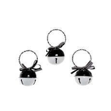 Hanging Noel Bell Decoration 3 Pack White and Black (6cmD)