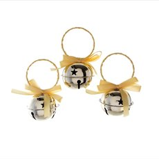 Hanging Noel Bell Decoration 3 Pack  Champagne Gold (6cmD)