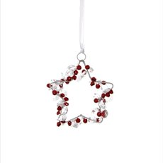 Hanging Star with Mini Bells Red (10cm)