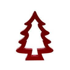 Wooden Tree Silhouette Ornament Red (19x2.5x25cmH)