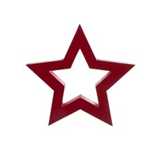 Wooden Star Silhouette Ornament Red (22.5x21.5x2.5cmH)