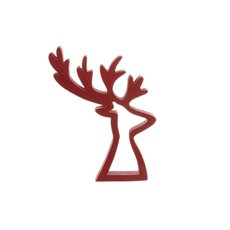 Wooden Reindeer Ornament Red (16x19.5cmH)