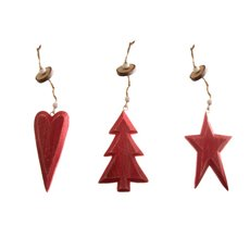 Hanging Decoration Assorted Set of 3 with Beads Red (10cmH)
