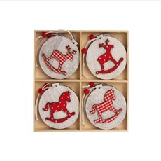 Hanging Decoration Assorted Set of 8 Red (6cm)