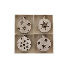 Hanging Decoration Assorted Star design Set 16 Natural (5cm)