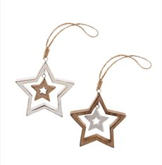 Hanging Star Set of 2 Natural White (9cmH)