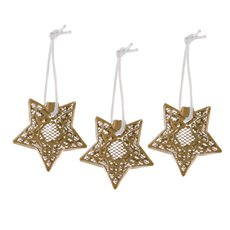 Hanging Metal Lace Star 3 Pack Gold (6cmH)