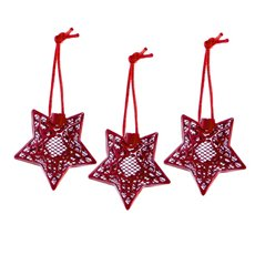 Hanging Metal Lace Star 3 Pack Red (6cmH)