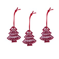 Hanging Metal Lace Tree 3 Pack Red (6cmH)