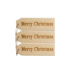 Hanging Tags Merry Christmas 3 Pack Natural (5cmx15cm)