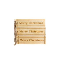 Hanging Tags Merry Christmas 3 Pack Natural (3cmx10.5cm)
