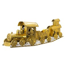Christmas Ornaments - Metal Train Decoration Gold (75cm Long)