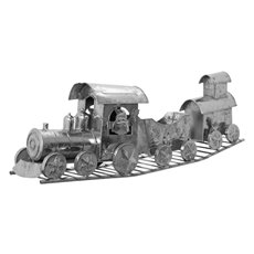 Christmas Ornaments - Metal Train Decoration Silver (75cm Long)
