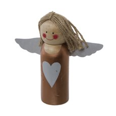 Wooden Angel Copper with Grey Trim (17.5x17.5cmH)