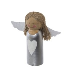 Wooden Angel Silver with White Trim (17.5x17.5cmH)