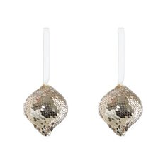 Christmas Tree Decorations - Hanging Glitz Teardrop 2 Pack Champagne Gold(11cmH)