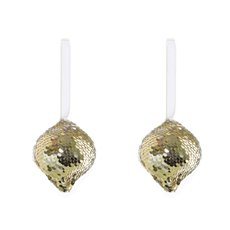 Christmas Tree Decorations - Hanging Glitz Bauble 2 Pack Champagne Gold (8cmH)