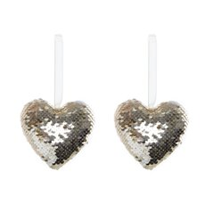 Glitz Hanging Heart 2 Pack Champagne Gold (9.5cmH)