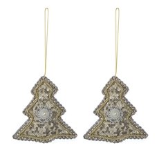 Glitz Hanging Tree 2 Pack Champagne Gold (10cmH)