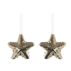 Christmas Tree Decorations - Hanging Glamour Star 2 Pack Champagne Gold (12cmH)