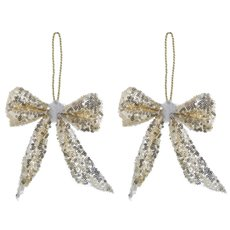 Christmas Tree Decorations - Hanging Glitz Bow 2 Pack Champagne Gold (12cmH)