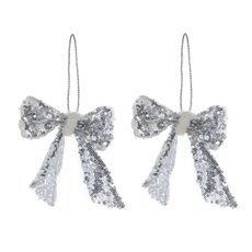Christmas Tree Decorations - Hanging Glamour Bow 2 Pack Silver (12cmH)