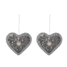 Glamour Hanging Heart 2 Pack Silver (11cmH)