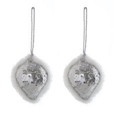 Christmas Tree Decorations - Hanging Glamour Teardrop 2 Pack Silver (9cmH)