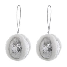 Christmas Tree Decorations - Hanging Glamour Ball 2 Pack Silver (8cmH)