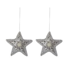 Glamour Hanging Star 2 Pack Silver (11cmH)