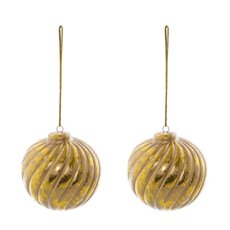Christmas Tree Decorations - Hanging Ceramic Bauble Swirl Pack of 2 Gold (7cmx8cmH)