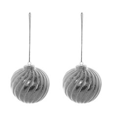 Christmas Tree Decorations - Hanging Ceramic Bauble Swirl Pack of 2 Silver (7cmx8cmH)
