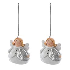 Ceramic Angel Hanging Decoration Pack 2 Silver (6cmx8.8cmH)